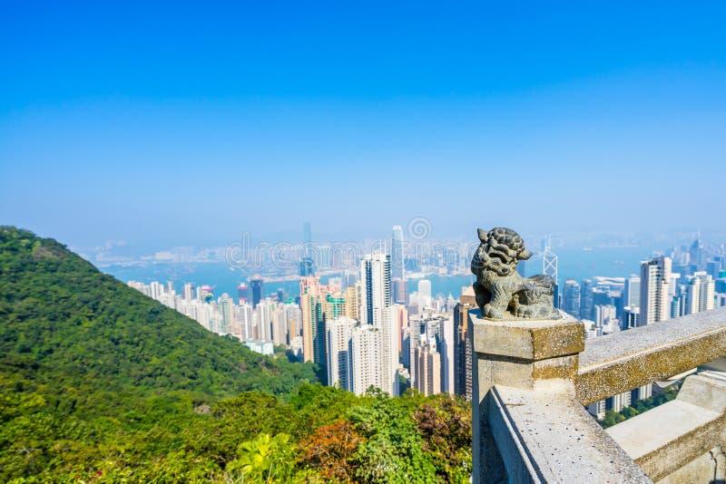 香港,城市和海湾的看法从太平山 库存图片