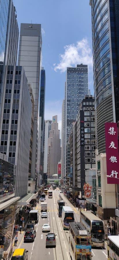 香港,女王维多利亚St,中央中间水平自动扶梯,天桥Veiw 图库摄影