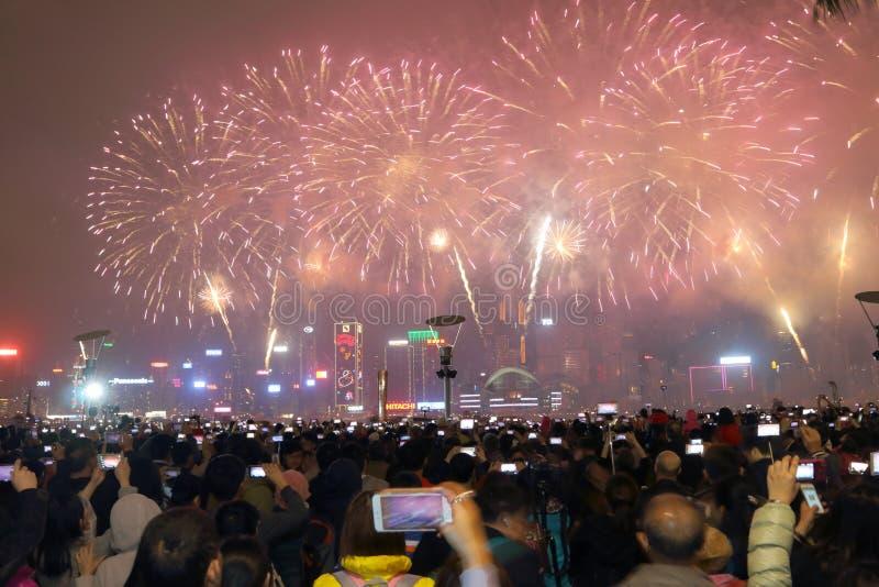 香港:农历新年烟花显示2015年 免版税库存照片