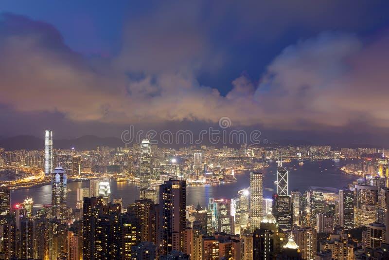 香港从维多利亚峰顶的市视图 免版税库存图片