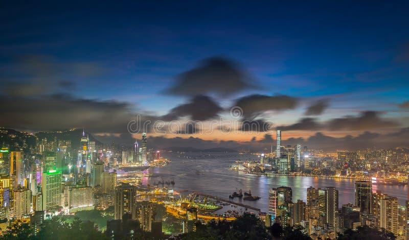 香港从峰顶的夜视图 图库摄影