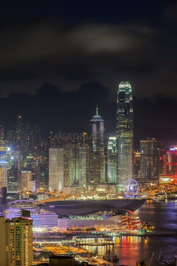 香港从峰顶的夜视图 免版税库存图片