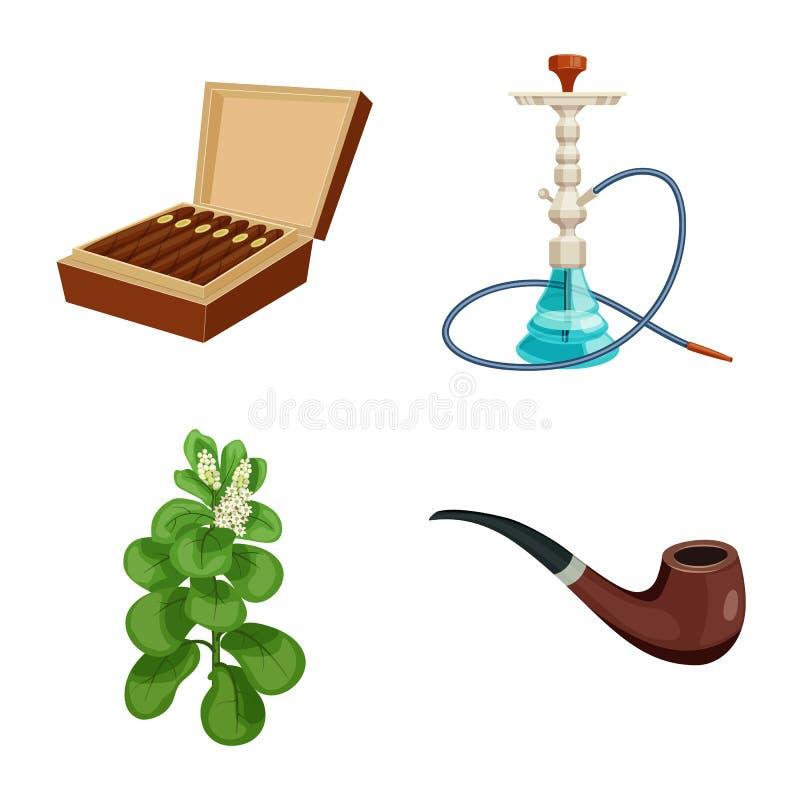 香烟和烟草商标的传染媒介例证 香烟和尼古丁储蓄传染媒介例证的汇集 向量例证