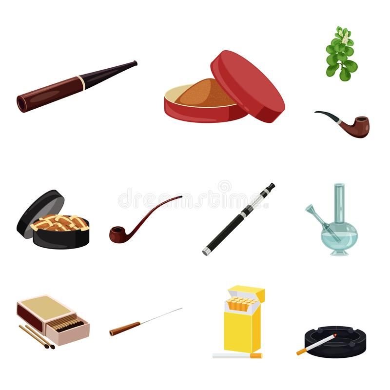 香烟和烟草商标被隔绝的对象  香烟和尼古丁股票简名的汇集网的 库存例证