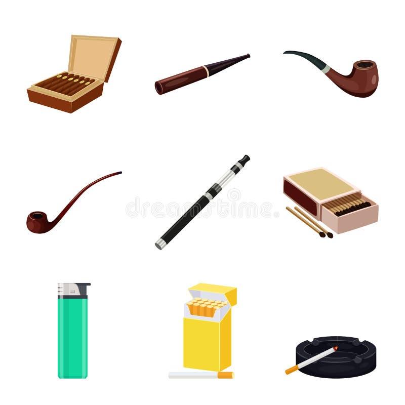 香烟和烟草标志的传染媒介例证 香烟和尼古丁股票简名的汇集网的 向量例证