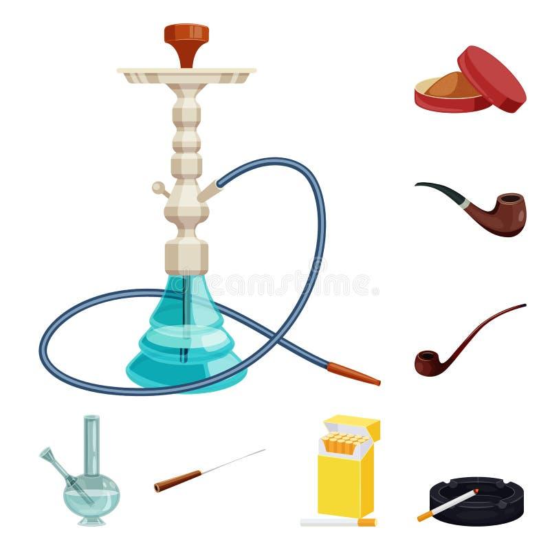 香烟和烟草标志被隔绝的对象  设置香烟和尼古丁股票的传染媒介象 库存例证
