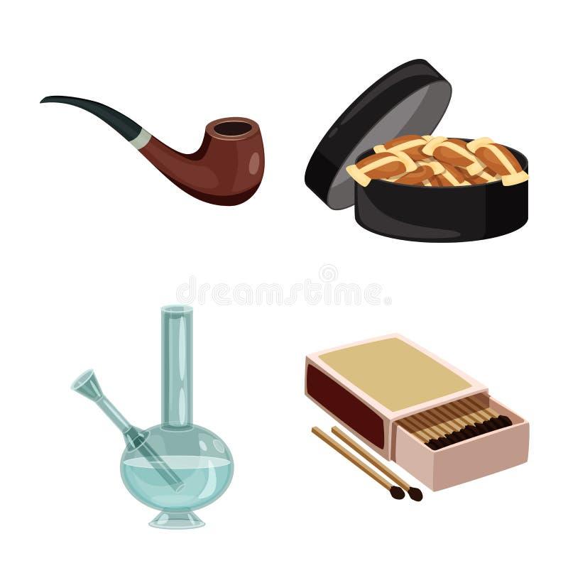 香烟和烟草标志被隔绝的对象  香烟和尼古丁储蓄传染媒介例证的汇集 库存例证