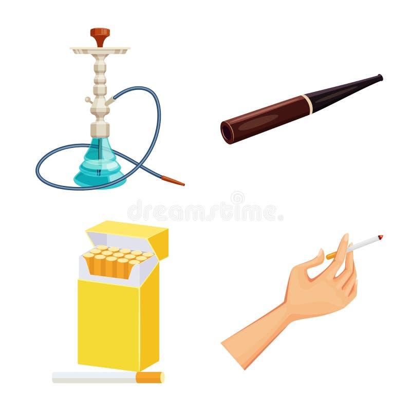香烟和烟草标志被隔绝的对象  香烟和尼古丁股票的传染媒介象的汇集 皇族释放例证