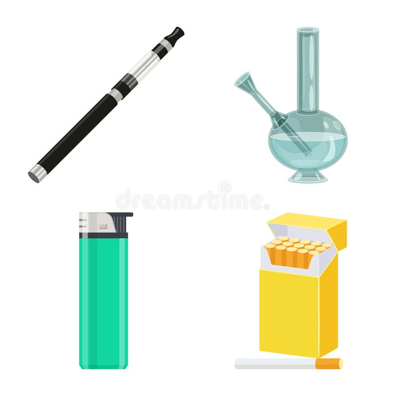 香烟和烟草象被隔绝的对象  香烟和尼古丁股票的传染媒介象的汇集 向量例证