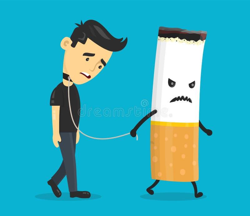 香烟导致一个年轻人的链子 库存例证