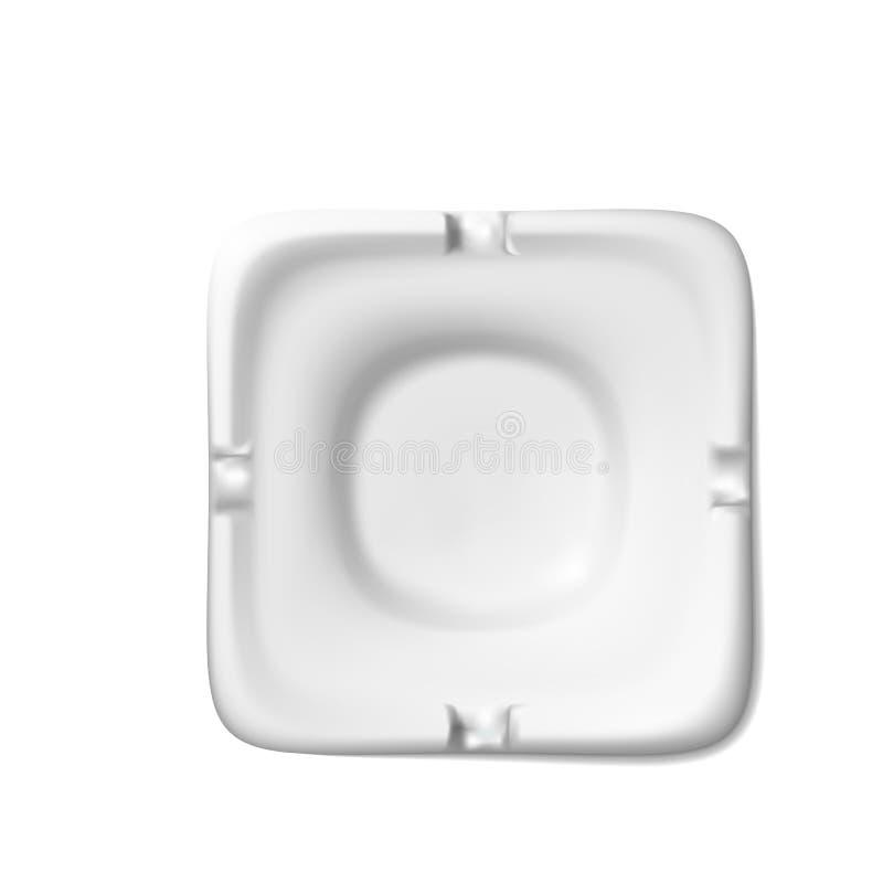 香烟的,尼古丁上瘾现实属性正方形白色烟灰缸  设计例证 下落阴影 向量例证