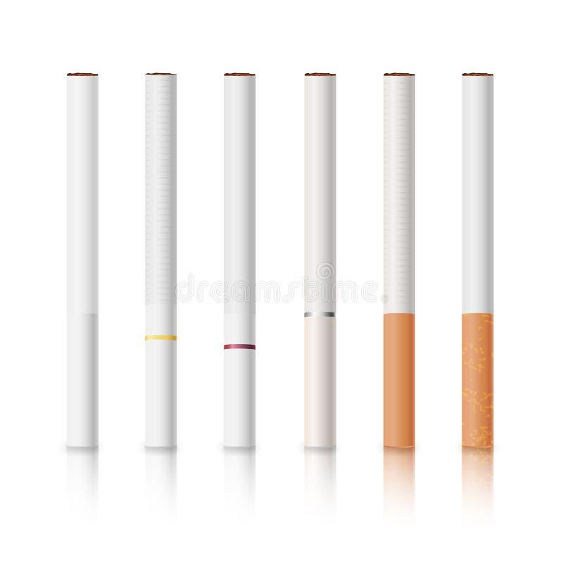 香烟设置与白色和黄色过滤器被隔绝的传染媒介例证 皇族释放例证