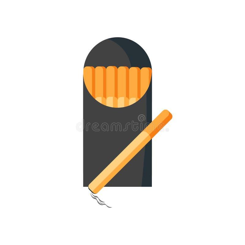 香烟象在白色backgro和标志隔绝的传染媒介标志 库存例证