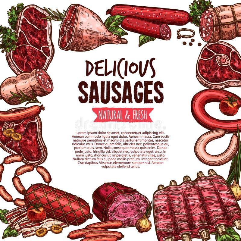 香肠、牛肉和猪肉熟食横幅 库存例证