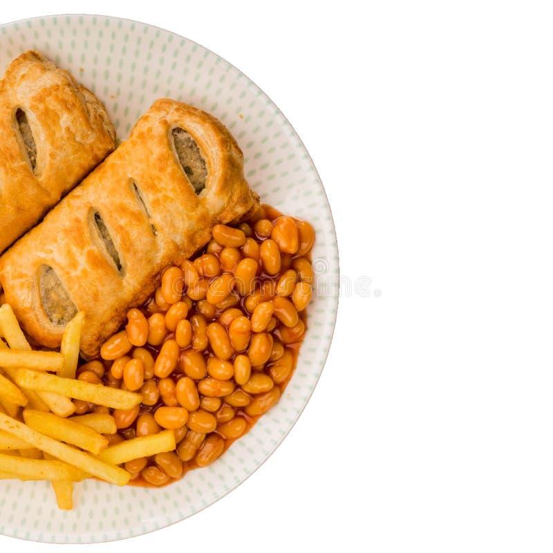 香肠劳斯用被烘烤的豆和芯片 库存图片