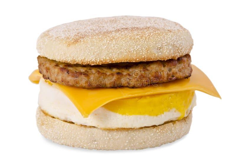 香肠鸡蛋和干酪早餐 库存照片