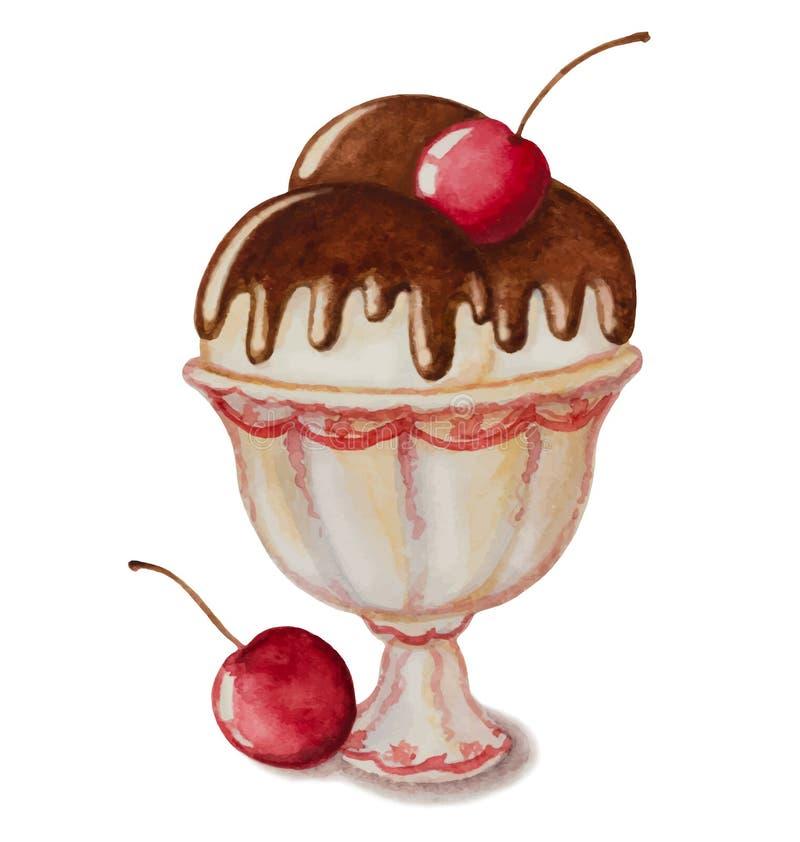 香草冰淇淋 向量例证