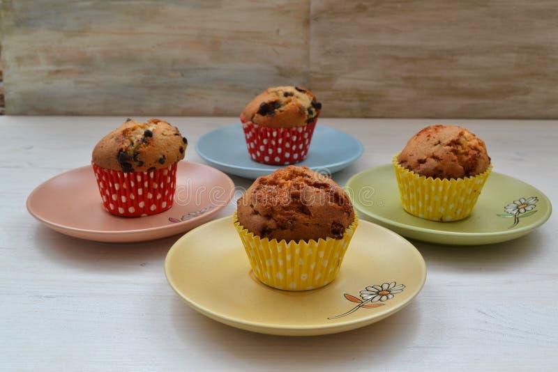 香草杯形蛋糕用在五颜六色的板材的巧克力 库存图片