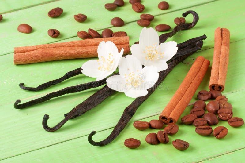 香草棍子和咖啡豆用桂香在绿色木背景 库存照片