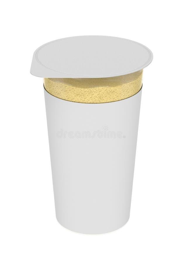 香草泡沫,泡沫似的奶油,在透明塑胶容器 免版税图库摄影