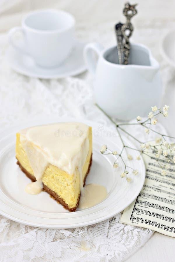 香草被烘烤的乳酪蛋糕 库存照片