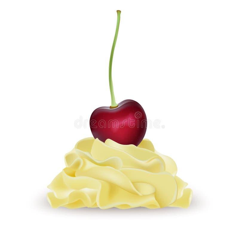 香草香蕉柠檬鞭打了冰淇凌的,酸奶, cupcak奶油 皇族释放例证