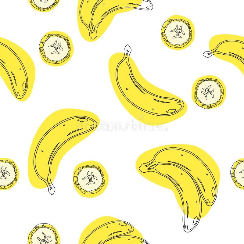 香蕉几何无缝 包装纸,礼品券,海报,横幅设计 家庭装饰,现代纺织品印刷品 皇族释放例证