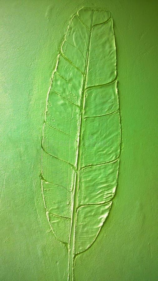 香蕉叶子绿色墙壁纹理 免版税库存照片