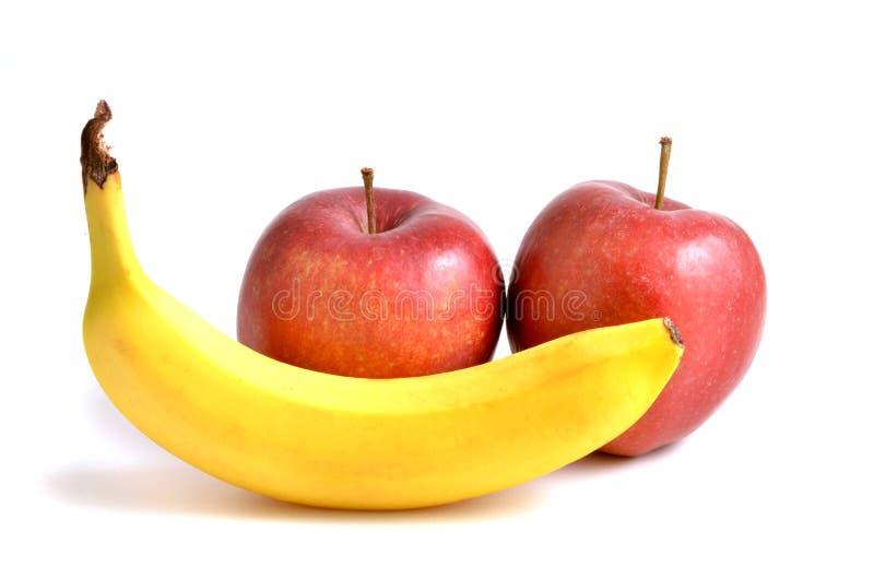 香蕉和aple 库存图片