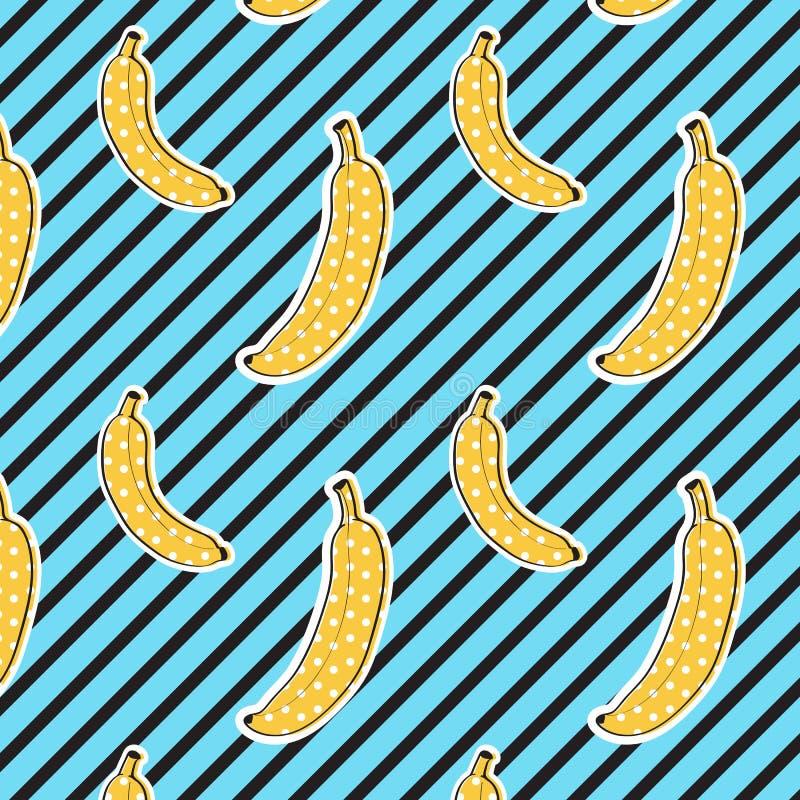 香蕉在条纹背景仿造 无缝的模式 流行艺术颜色 印刷品纹理 织品设计 皇族释放例证