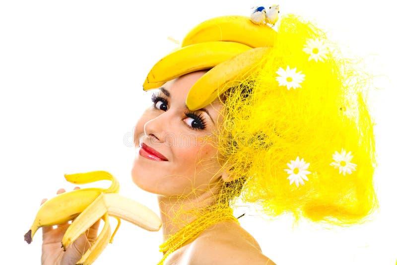 香蕉夫人微笑 免版税库存图片