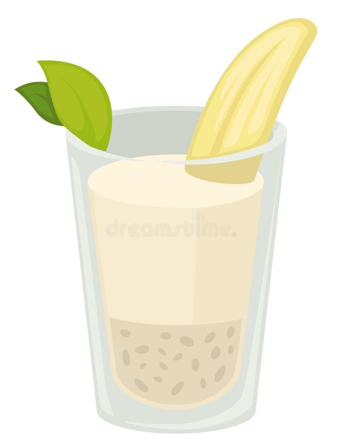 香蕉奶昔被隔绝的蛋白质饮料热带水果成份 向量例证