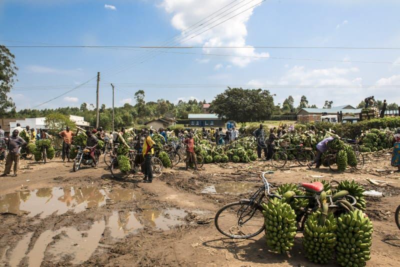 香蕉市场在非洲 库存图片