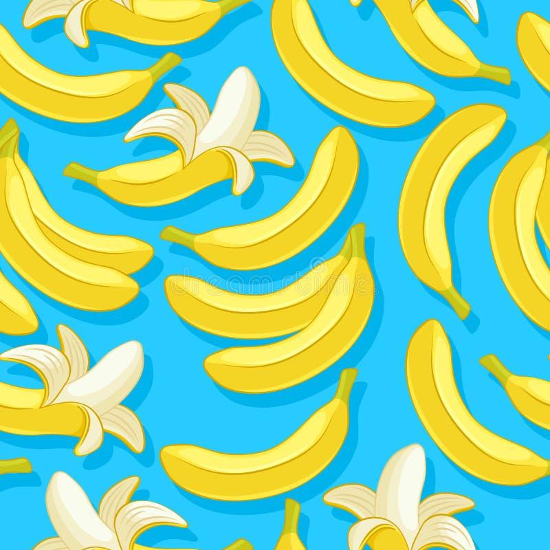 香蕉无缝的样式 回归线结果实背景 库存例证