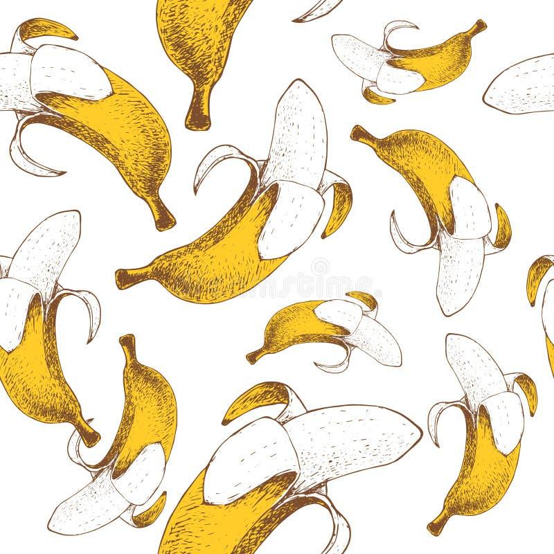 香蕉无缝的样式 手拉的剪影样式成熟回归线结果实传染媒介例证 党设计的,水果市场理想 库存例证