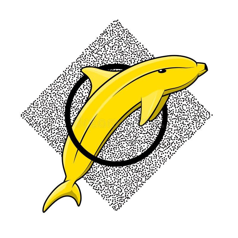 香蕉海豚样式小点工作 剪影纹身花刺 库存例证