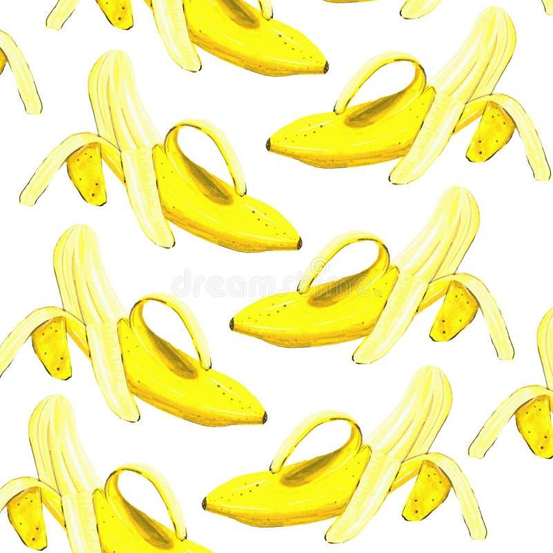 香蕉被剥皮的水彩样式 图库摄影