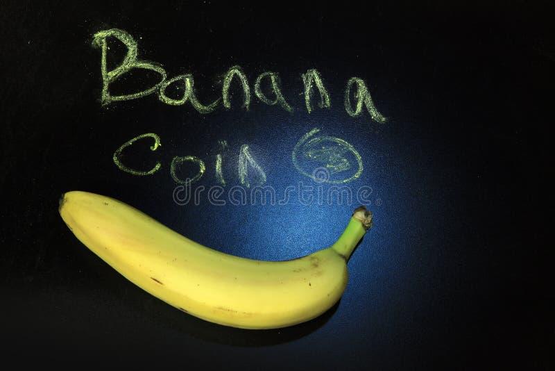 香蕉黑板文本没人 库存照片
