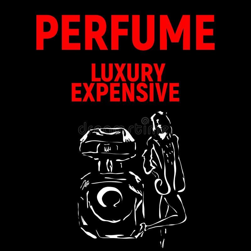 香水公司的海报与女孩 免版税库存图片