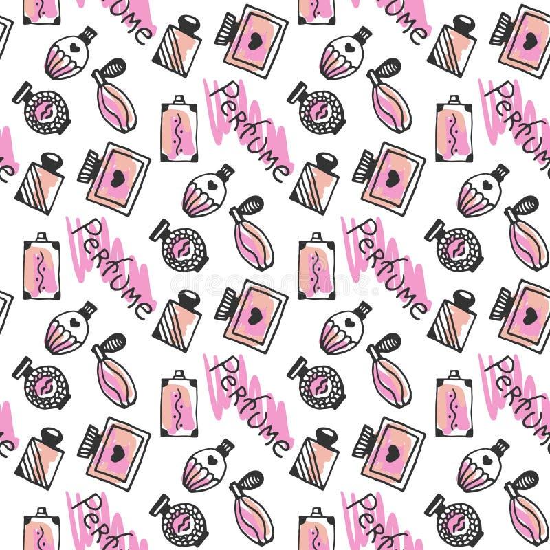 香水无缝的样式 乱画香水瓶剪影在桃红色颜色的在白色背景 向量 库存例证