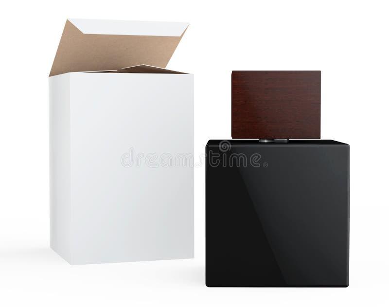 黑香水瓶和包裹箱子 库存例证