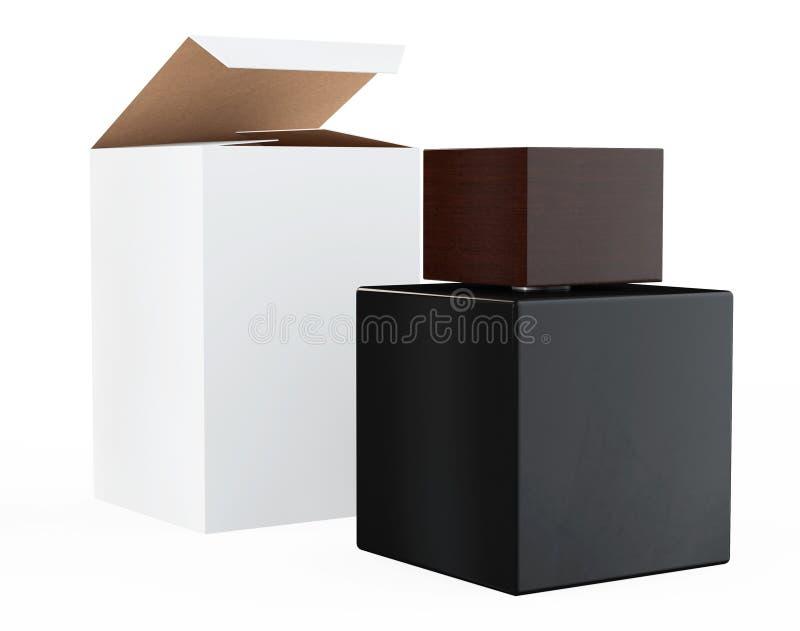 黑香水瓶和包裹箱子 向量例证