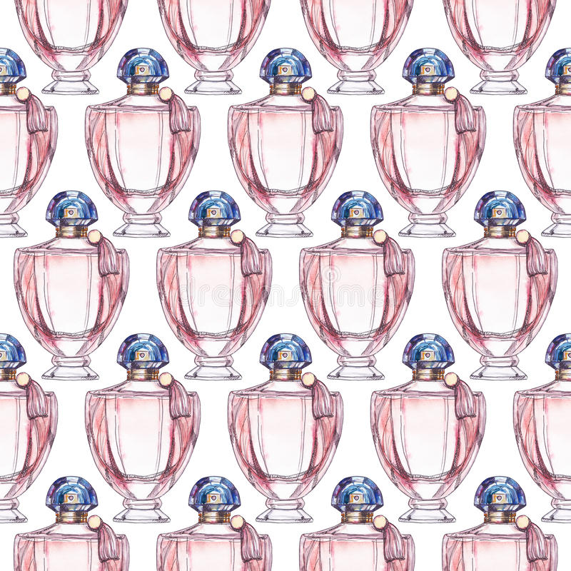香水瓶无缝的样式,水彩例证 向量例证