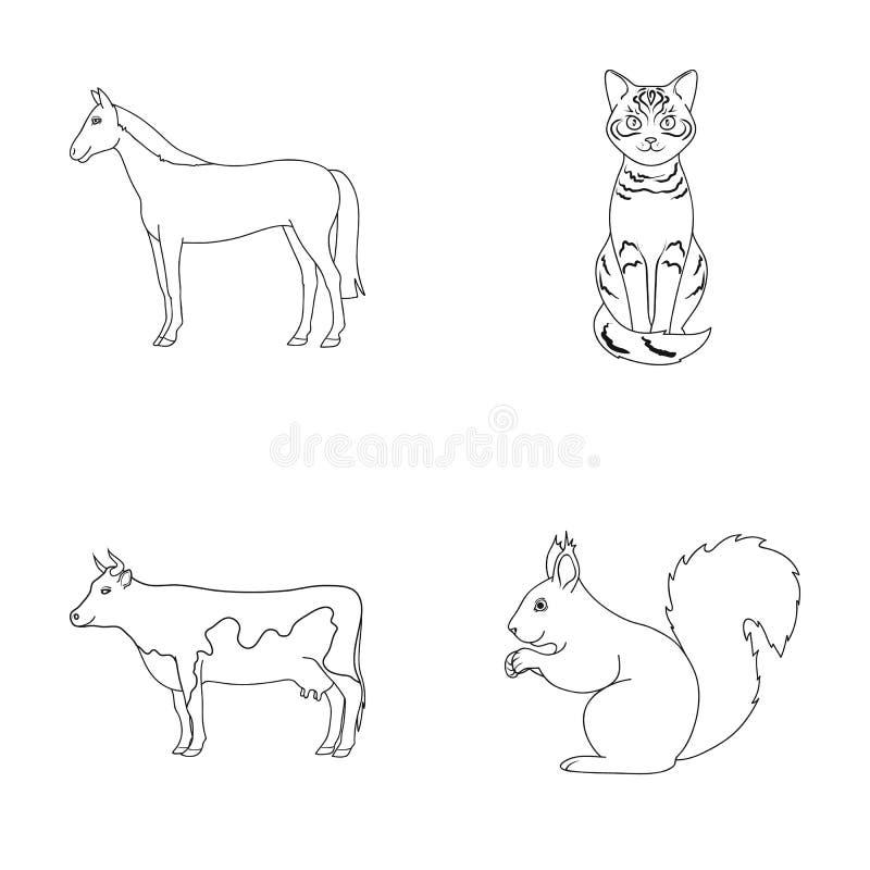 马、母牛、猫、灰鼠和其他动物 动物在概述样式传染媒介标志库存设置了汇集象 向量例证