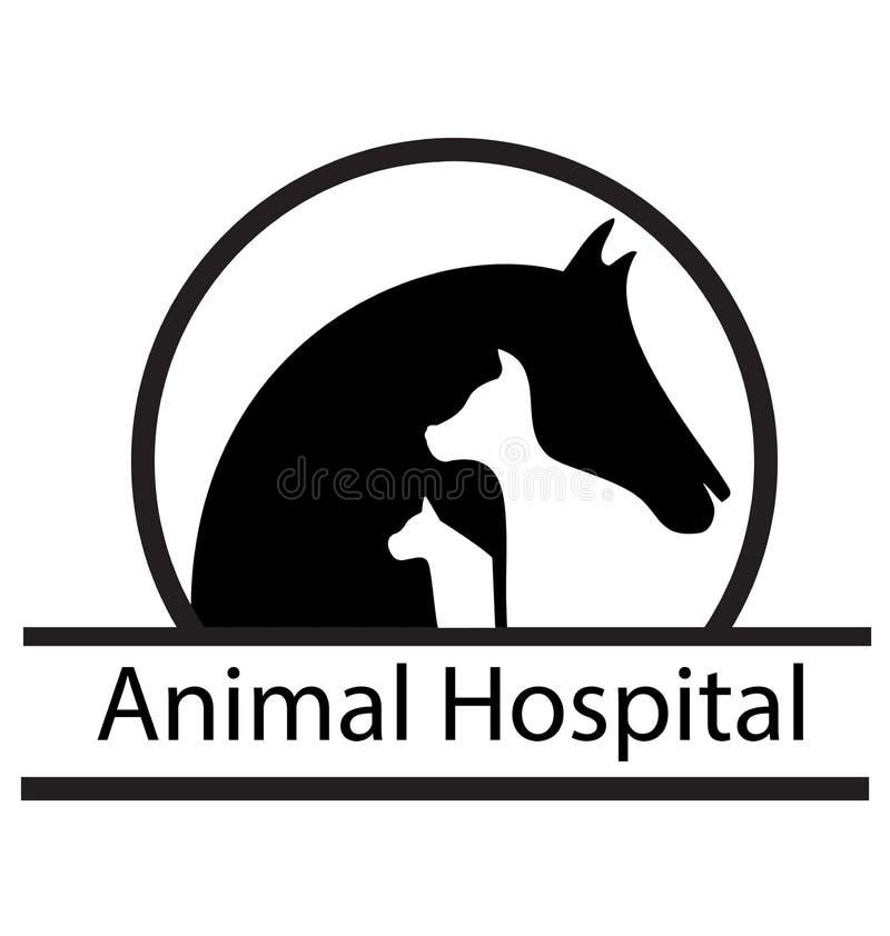 马、猫和狗剪影商标 库存例证