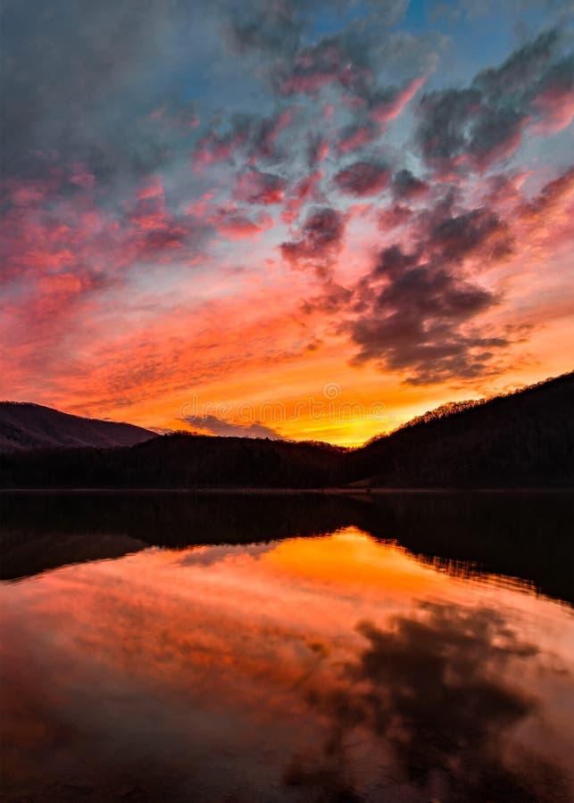 马丁斯Fork湖,风景日落,肯塔基 免版税图库摄影
