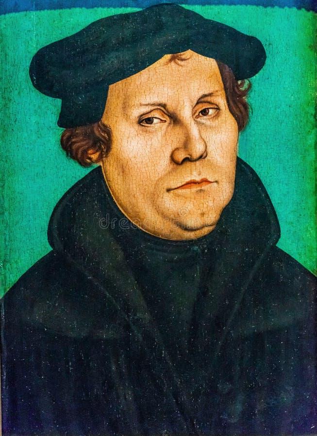 马丁Luther& x27; 绘Luther& x27的s; s议院Lutherstadt威顿堡G 库存照片
