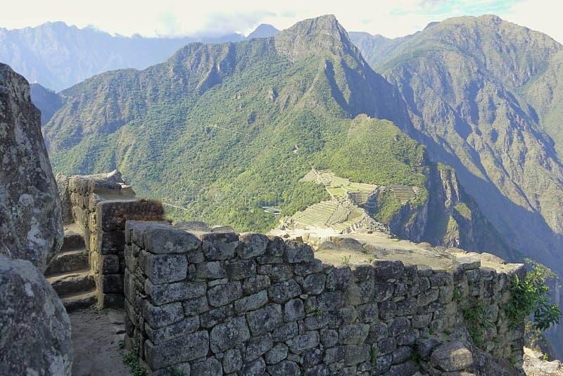 马丘比丘从上面在Huyana Picchu 免版税库存图片
