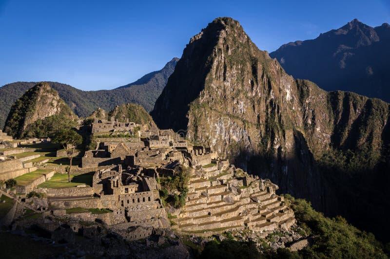 马丘比丘印加人城市,日出的秘鲁 免版税库存图片