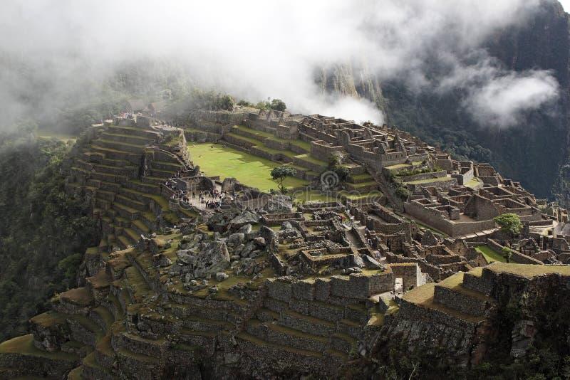 马丘比丘古城的顶视图 免版税库存图片